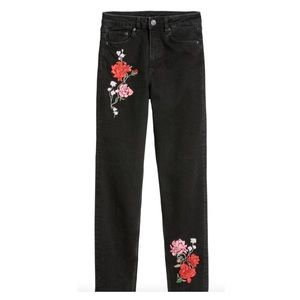 H&M Black Flower Embroidered Jeans